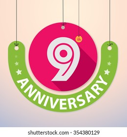 9th Anniversary - Colorful Badge, Paper cut-out