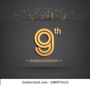 9th anniversary design for company celebration event with golden multiple line and confetti isolated on dark background