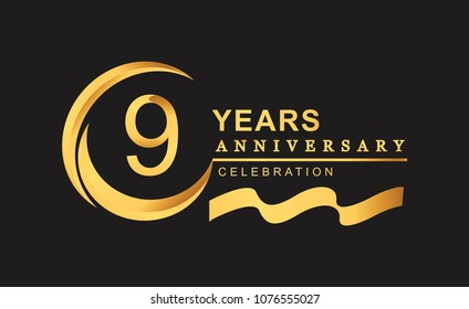 9th anniversary design logotype golden color with ring and gold ribbon for anniversary celebration