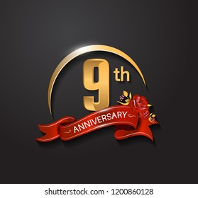 9th anniversary design logotype with golden swoosh, red ribbon and red rose. Vector template for use in celebration company event, greeting card, and invitation card