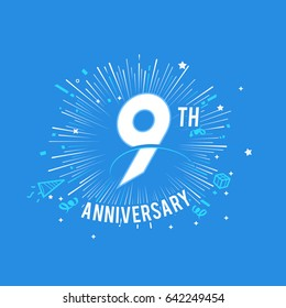 9th Anniversary fireworks and celebration background. vector design template