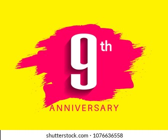 9th anniversary flat design pink brush on yellow background for celebration event