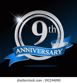 9th anniversary logo with blue ribbon and silver ring, vector template for birthday celebration.