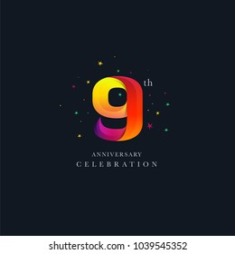 9th Anniversary Logo Design, Number 9 Icon Vector Template.