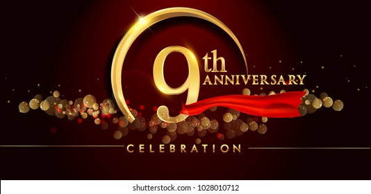 9th anniversary logo with golden ring, confetti and red ribbon isolated on elegant black background, sparkle, vector design for greeting card and invitation card