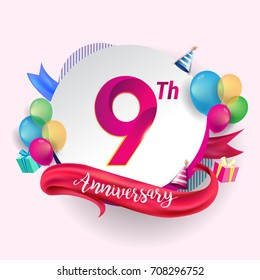 9th Anniversary logo with ribbon, balloon, and gift box isolated on circle object and colorful background