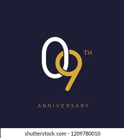 9th anniversary logo.overlapping number with simple monogram color. vector design for greeting card and invitation card.