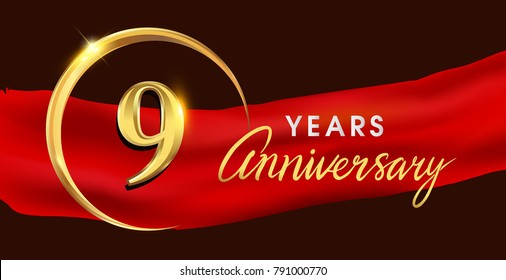 9th anniversary logotype with golden ring isolated on red ribbon elegant background, vector design for birthday celebration, greeting card and invitation card.