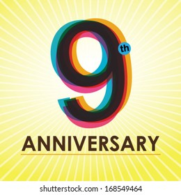 9th Anniversary poster / template design in retro style - Vector Background