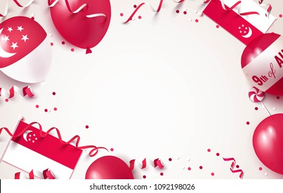 9th of August. Singapore independence day celebration background with balloons, flag and confetti. Festive frame flat lay. Vector illustration