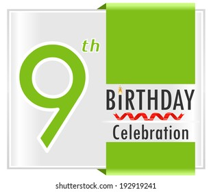9th birthday celebration card with vibrant colors and ribbon - vector illustration