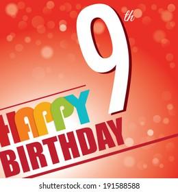 9th Birthday Party Invite Template Design In Bright And Colourful Retro Style
