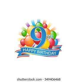 9th colorful happy birthday logo with balloons and burst of light
