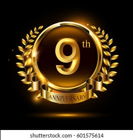 9th golden anniversary celebration logo with ring and ribbon, laurel wreath design