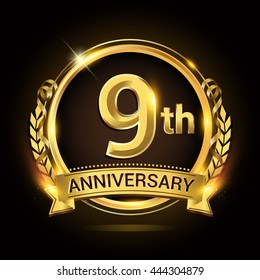 9th golden anniversary logo, 9 years anniversary celebration with ring and ribbon, Golden anniversary laurel wreath design.