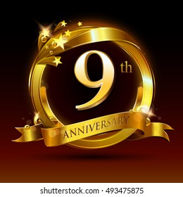 9th golden anniversary logo, 9 years anniversary celebration with ring and ribbon.