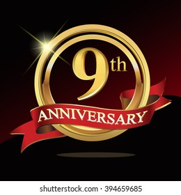 9th golden anniversary logo. with ring and ribbon.