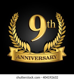 9th golden anniversary logo with ring and ribbon, laurel wreath vector design isolated on black background