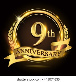 9th golden anniversary logo with ring and ribbon, laurel wreath vector design.
