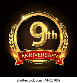 9th golden anniversary logo, with shiny ring and red ribbon, laurel wreath isolated on black background, vector design