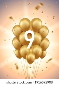 9th Year anniversary celebration background. Golden balloons and confetti with sunbeams in background.