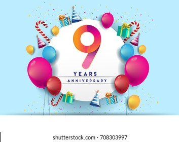9th years Anniversary Celebration Design with balloons and gift box, Colorful design elements for banner and invitation card.