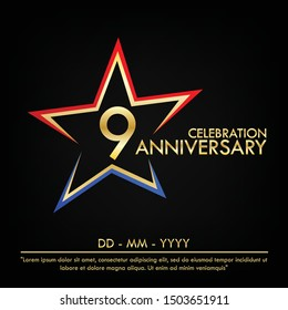 9th years anniversary celebration emblem. anniversary elegance golden logo with red and blue star shape. vector illustration template design for web, leaflet, flyer, greeting card and invitation card