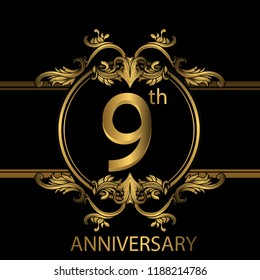 9th years anniversary celebration. 9th anniversary logo with gold color, foil, sparkle