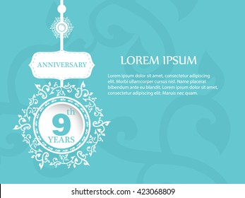 9th years anniversary label and sign with vintage background
