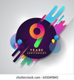 9th years Anniversary logo with colorful abstract background, vector design template elements for invitation card and poste nine years celebration