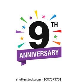 9th Years Anniversary Logo Design Vector. Modern Illustration