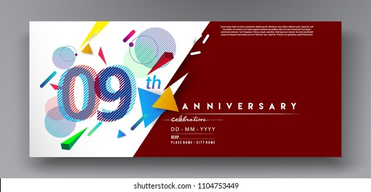 9th years anniversary logo, vector design birthday celebration with colorful geometric background and circles shape.