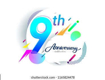 9th years anniversary logo, vector design birthday celebration with colorful geometric background, isolated on white background.