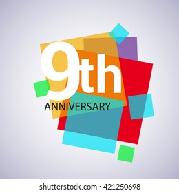 9th years anniversary logo, vector design birthday celebration with colorful geometric isolated on white background.