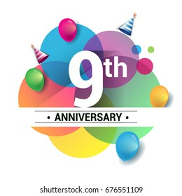 9th Years Anniversary Logo Vector Design Birthday Celebration With Colorful Geometric Circles And Balloons
