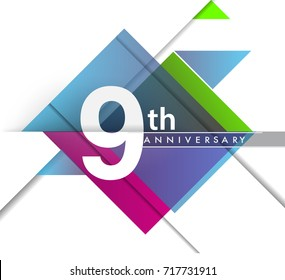 9th years anniversary logo, vector design birthday celebration with geometric isolated on white background.