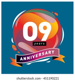 9th years greeting card anniversary with colorful number and frame. logo and icon with circle badge and background