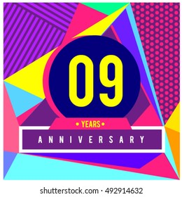 9th years greeting card anniversary with colorful number and frame. logo and icon with Memphis style cover and design template. Pop art style design poster and publication.