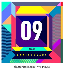 9th years greeting card anniversary with colorful number and frame. logo and icon with Memphis style cover and design template