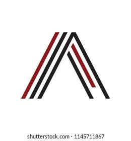 A, AA, AAA, AL, AI initials geometric line art company logo