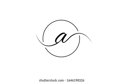 a, aa or aaa Cursive Letter Initial Logo Design Template Vector Illustration
