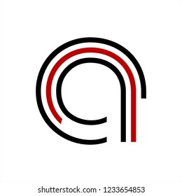 a, aa, cna, ca initials digital data network shape for technology company logo