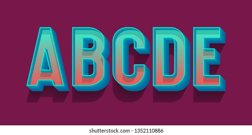 A, B, C, D, E volumetric blue red letters. Urban 3d retro font.