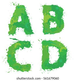 A, B, C, D, Handdrawn english alphabet - letters are made of green watercolor, ink splatter, paint splash font. Isolated on white background.