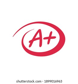 A+ exam mark red vector sign