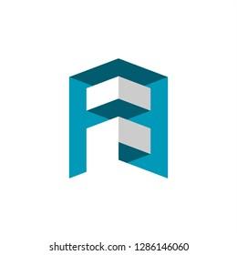 A. FB . FE logo design inspiration . 3d logo design . building logo . architecture . logo template