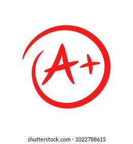 A+. Hand drawn grade result with circle. Success. Pass the exam. Best work. Vector icon isolated on white background.