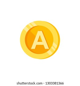 A, letter, coin color icon. Element of color finance signs. Premium quality graphic design icon. Signs and symbols collection icon for websites, web design