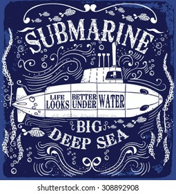 """A smooth sea never made a skillful sailor"" the submarine in storm."
