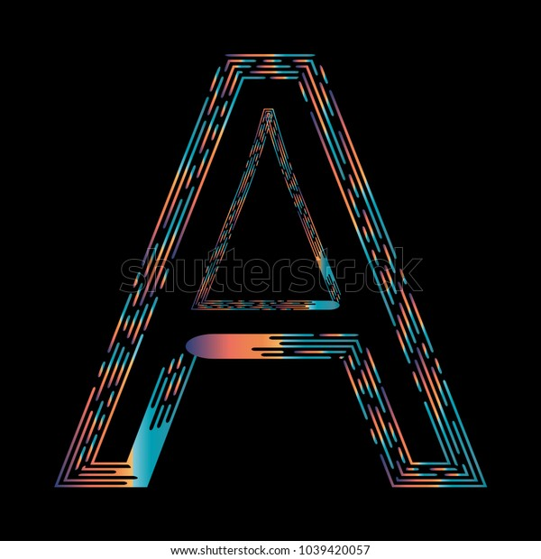 """A"" Typographic Icon On Dark Background. Graphic Font For Your Design Background. Design Concept For Graphic, Banners, Presentations, Wallpaper, Reports. Vector Illustration.  Eps10"